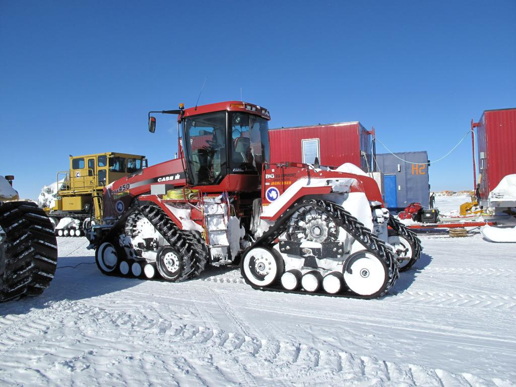 "The South Pole station houses a number of vehicles, including this tractor. Image Credit:  Ted Scambos, NSIDC (<a href=""/cryosphere/gallery/photo/33770"">View photo detail.</a>) <br>"