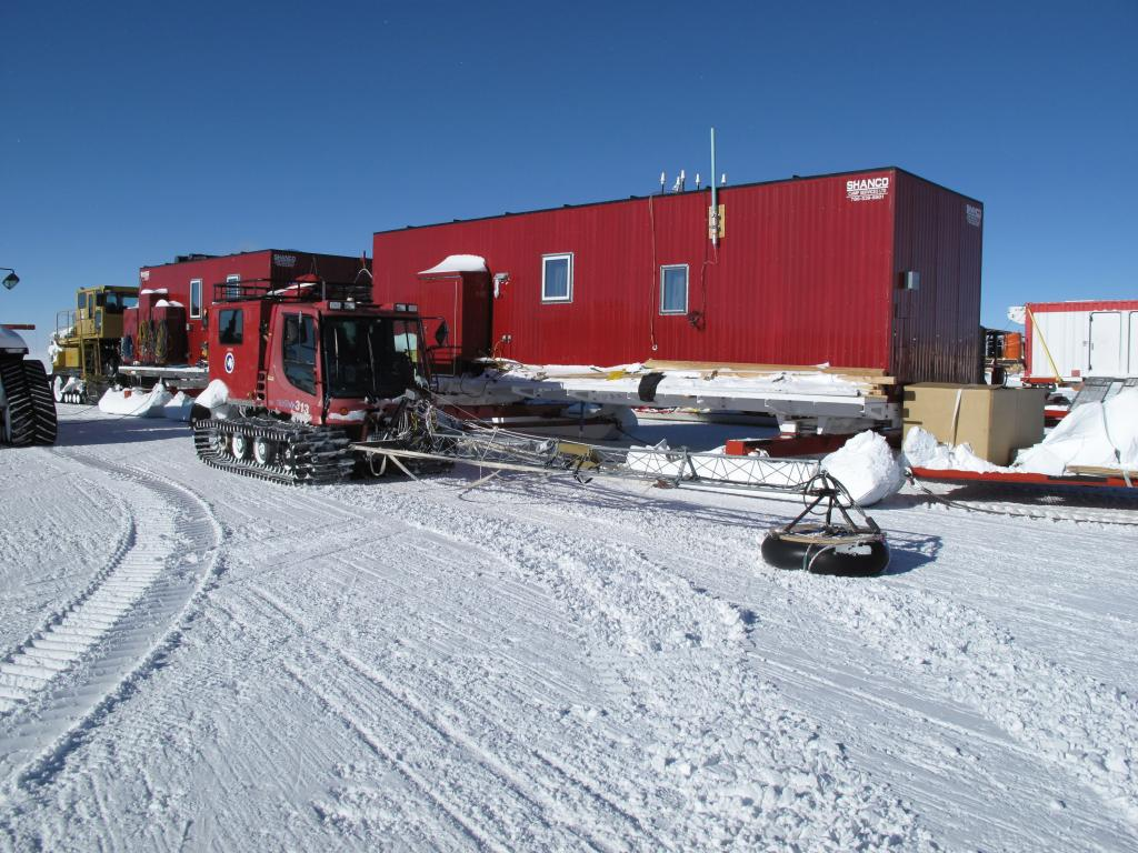 "One of the traverse vehicles prepares for the journey at the South Pole. Image Credit:  Ted Scambos, NSIDC (<a href=""/cryosphere/gallery/photo/33775"">View photo detail.</a>) <br>"