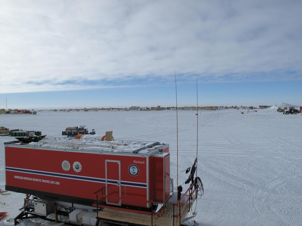 "The traverse cabin waits for the start of the expedition at the South Pole. Image Credit: Ted Scambos, NSIDC (<a href=""/cryosphere/gallery/photo/33794"">View photo detail.</a>) <br>"