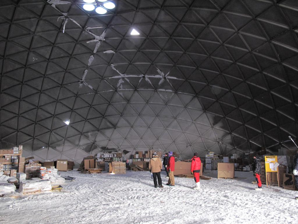 "The old South Pole Station still serves as a storage area. Image Credit: Ted Scambos, NSIDC (<a href=""/cryosphere/gallery/photo/33796"">View photo detail.</a>) <br>"