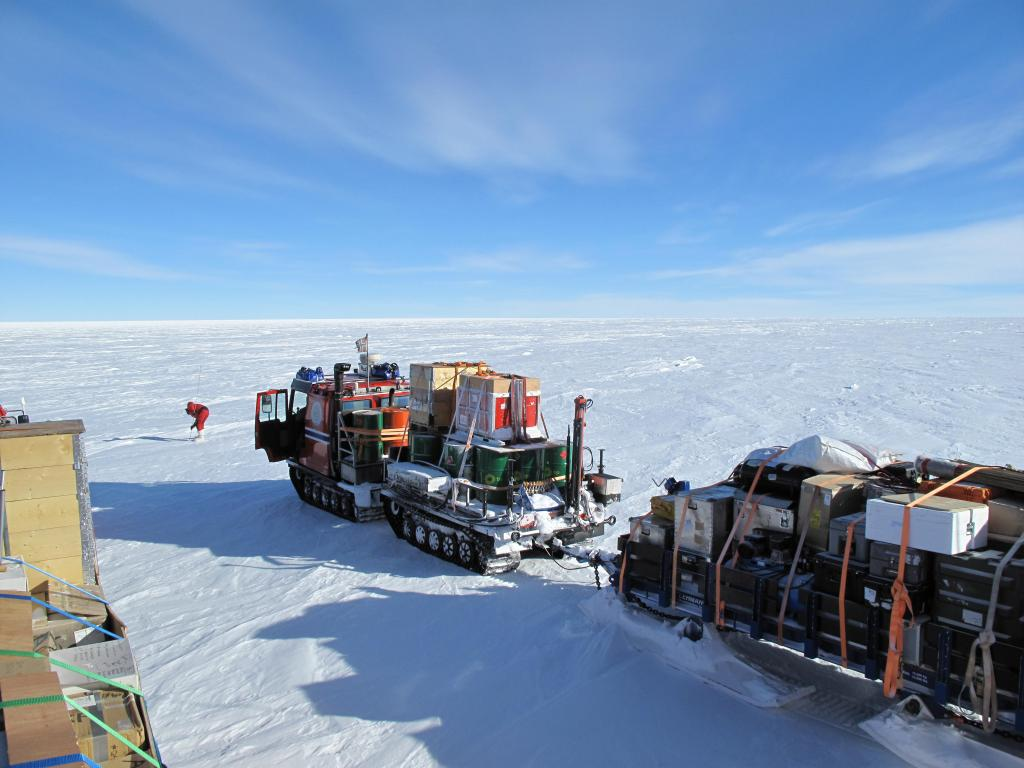 "The U.S.-Norway Traverse of East Antarctica traveled in a caravan of specially-designed vehicles for working and living. Image Credit: Ted Scambos, NSIDC (<a href=""/cryosphere/gallery/photo/33805"">View photo detail.</a>) <br>"