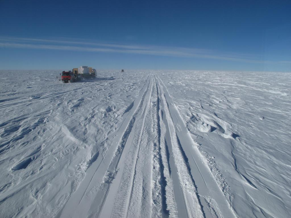 "The Norwegian-U.S. traverse team comes across tracks in the snow. Image Credit: Ted Scambos, NSIDC (<a href=""/cryosphere/gallery/photo/33807"">View photo detail.</a>) <br>"
