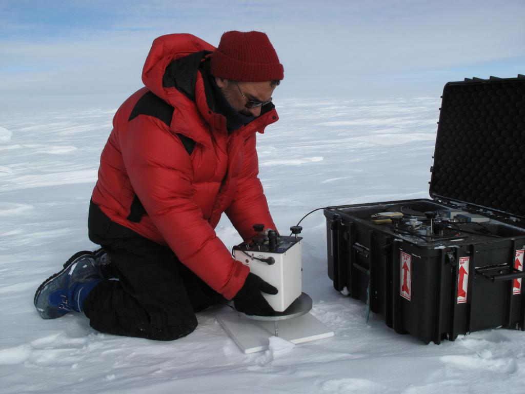 "Ted Scambos takes measurements during the U.S.-Norway Scientific Traverse of East Antarctica. Image Credit:  Ted Scambos, NSIDC (<a href=""/cryosphere/gallery/photo/33812"">View photo detail.</a>) <br>"