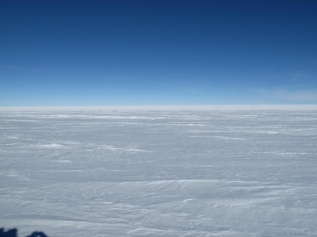 "This view of the Antarctic Ice Sheet remained unchanged during much of the traverse. Image Credit:  Ted Scambos, NSIDC (<a href=""/cryosphere/gallery/photo/33815"">View photo detail.</a>) <br>"