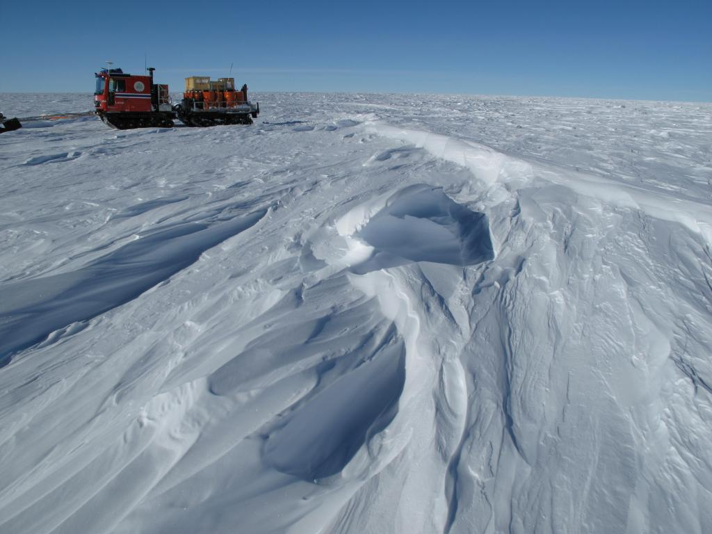 "Researchers saw Sastrugi such as this one during the traverse. Image Credit:  Ted Scambos, NSIDC (<a href=""/cryosphere/gallery/photo/33817"">View photo detail.</a>) <br>"