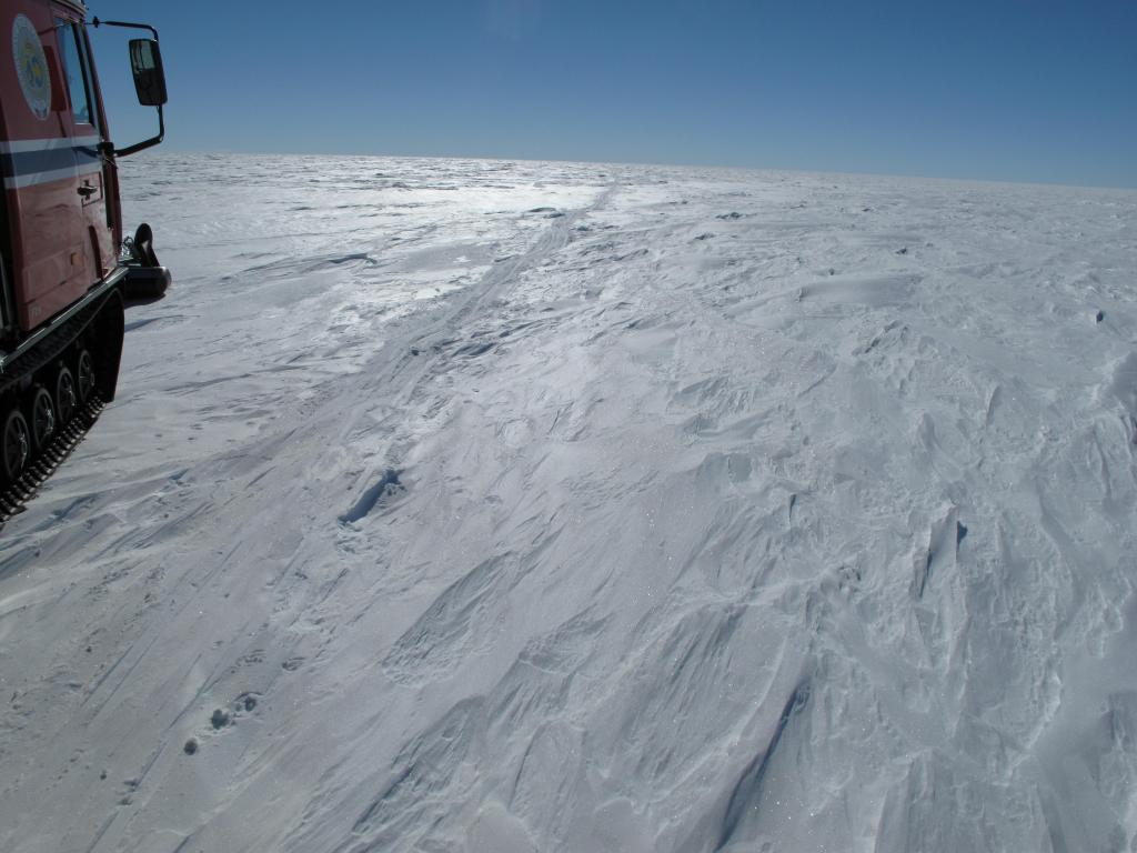 "This view of the Antarctic Ice Sheet remained unchanged during much of the traverse. Image Credit:  Ted Scambos, NSIDC (<a href=""/cryosphere/gallery/photo/33821"">View photo detail.</a>) <br>"