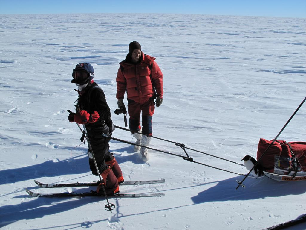 "The traverse team runs into a group of skiers racing across the Antarctic Ice Sheet (<a href=""/cryosphere/gallery/photo/33823"">View photo detail.</a>) <br>"