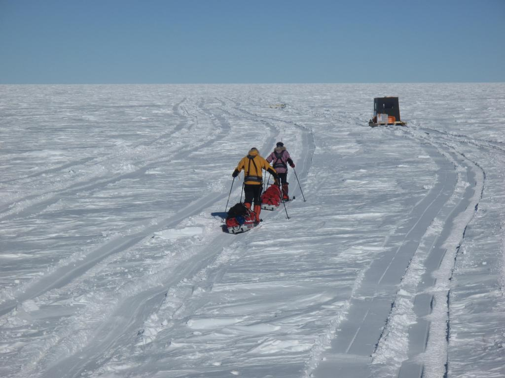"Skiers continue on their race across the Antarctic Ice Sheet. Image Credit:  Ted Scambos, NSIDC (<a href=""/cryosphere/gallery/photo/33825"">View photo detail.</a>) <br>"