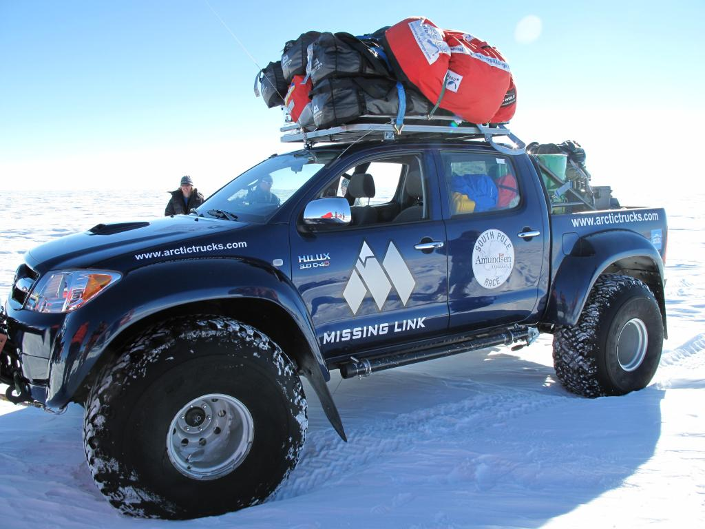 "This support truck followed the ski race across Antarctica.  Image Credit:  Ted Scambos, NSIDC (<a href=""/cryosphere/gallery/photo/33826"">View photo detail.</a>) <br>"