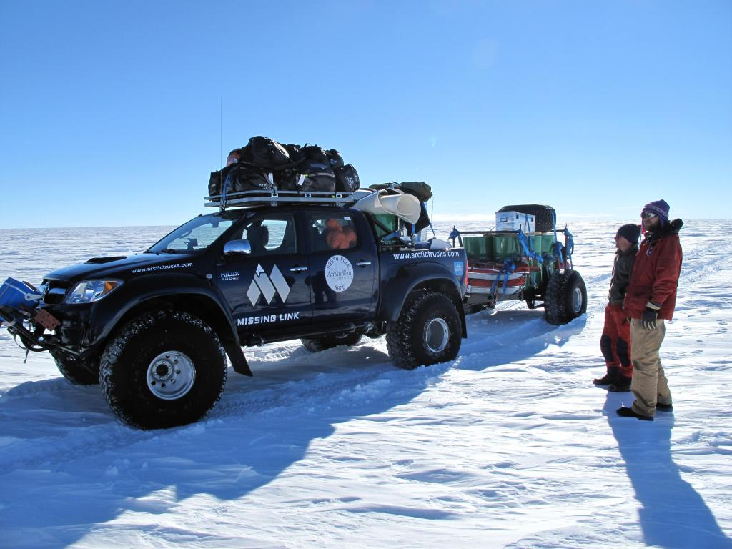 "This support truck followed the ski race across Antarctica.  Image Credit:  Ted Scambos, NSIDC (<a href=""/cryosphere/gallery/photo/33828"">View photo detail.</a>) <br>"