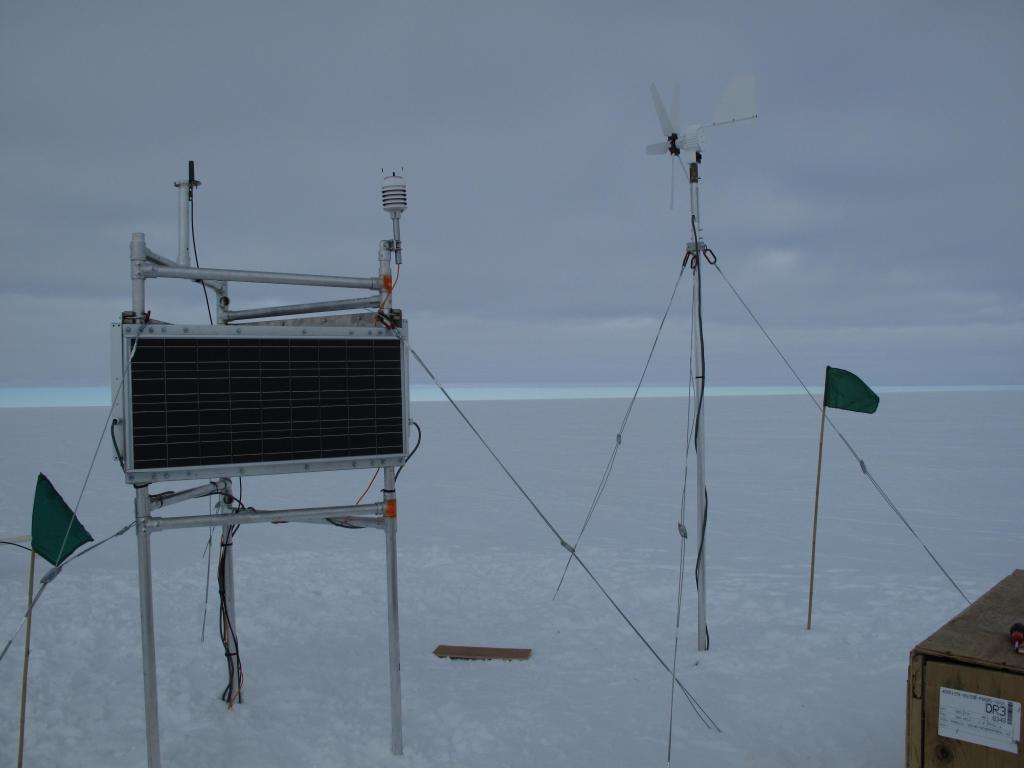 "The traverse team set up this scientific equipment on the Antarctic Ice Sheet. Image Credit:  Ted Scambos, NSIDC (<a href=""/cryosphere/gallery/photo/32990"">View photo detail.</a>) <br>"