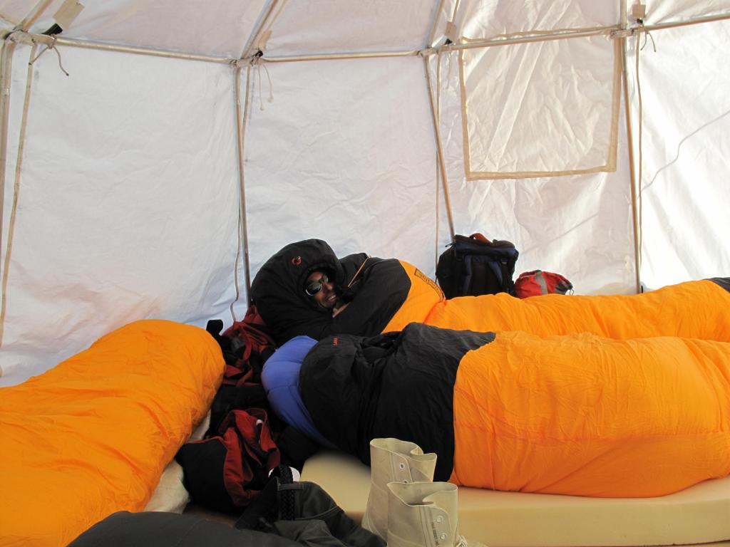 "The researchers stayed in tents while conducting some studies away from the traverse vehicles. Image Credit:  Ted Scambos, NSIDC (<a href=""/cryosphere/gallery/photo/32994"">View photo detail.</a>) <br>"