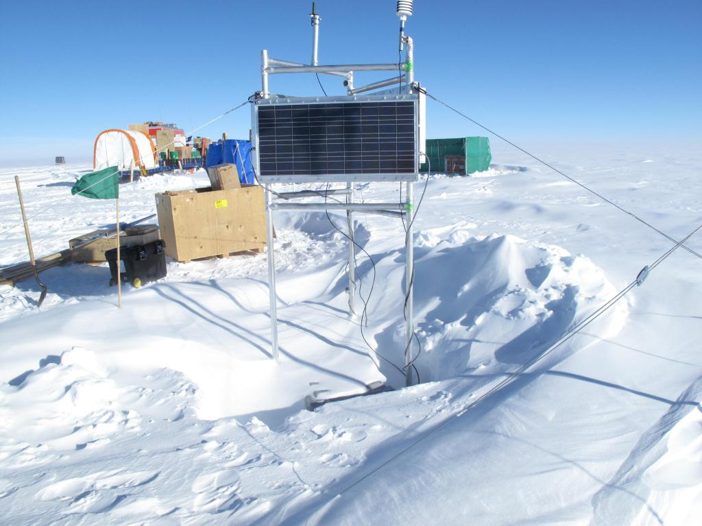 "Scientists set up these measurement devices during the Norwegian-U.S. Scientific Traverse of East Antarctica. Image Credit:  Ted Scambos, NSIDC (<a href=""/cryosphere/gallery/photo/33842"">View photo detail.</a>) <br>"
