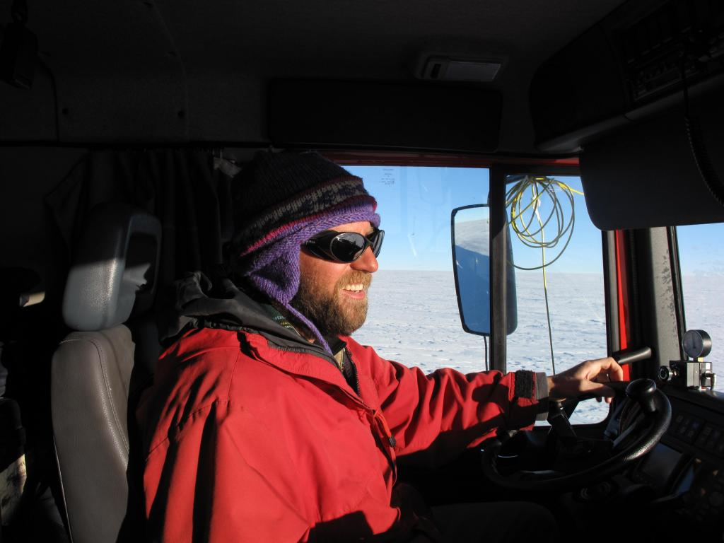 "Driving the caravan across the East Antarctic Ice Sheet was slow, and hard on the eyes. Image Credit:  Ted Scambos, NSIDC (<a href=""/cryosphere/gallery/photo/33845"">View photo detail.</a>) <br>"