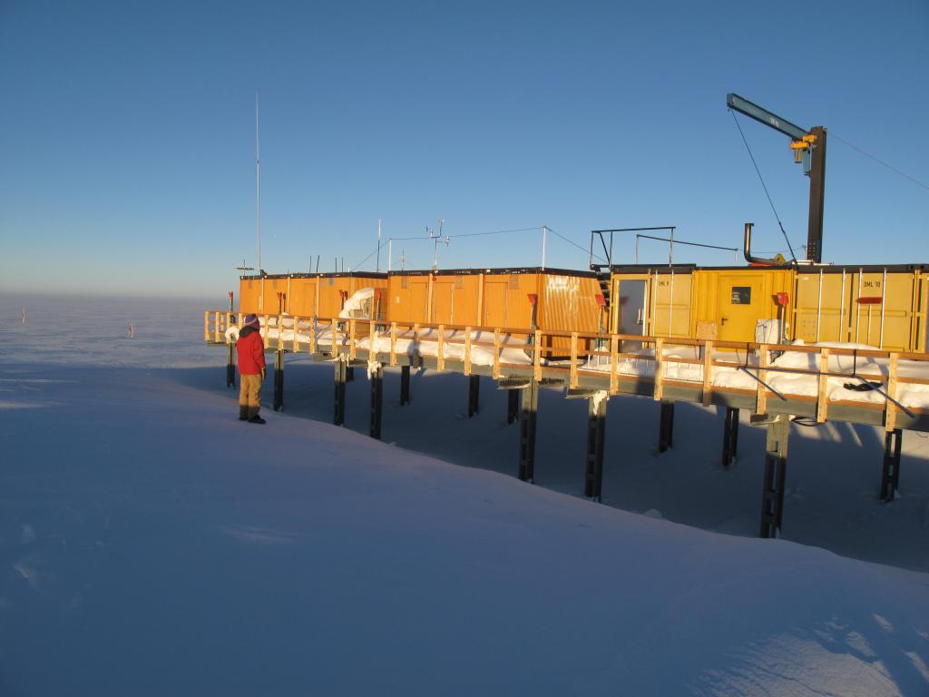"The traverse team came across an abandoned research station on the East Antarctic Ice Sheet. Image Credit:  Ted Scambos, NSIDC (<a href=""/cryosphere/gallery/photo/33851"">View photo detail.</a>) <br>"