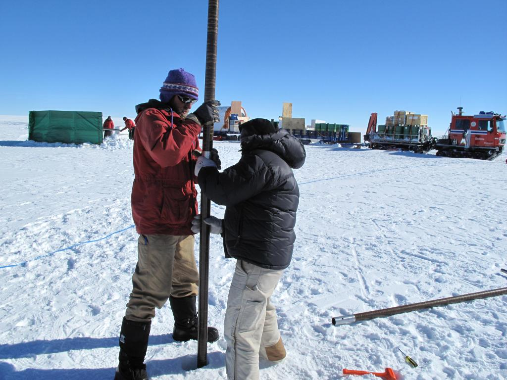 "Researchers take a snow core on the East Antarctic Ice Sheet. Image Credit:  Ted Scambos, NSIDC (<a href=""/cryosphere/gallery/photo/33853"">View photo detail.</a>) <br>"