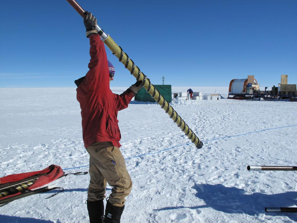 "Researchers take a snow core on the East Antarctic Ice Sheet. Image Credit:  Ted Scambos, NSIDC (<a href=""/cryosphere/gallery/photo/33855"">View photo detail.</a>) <br>"