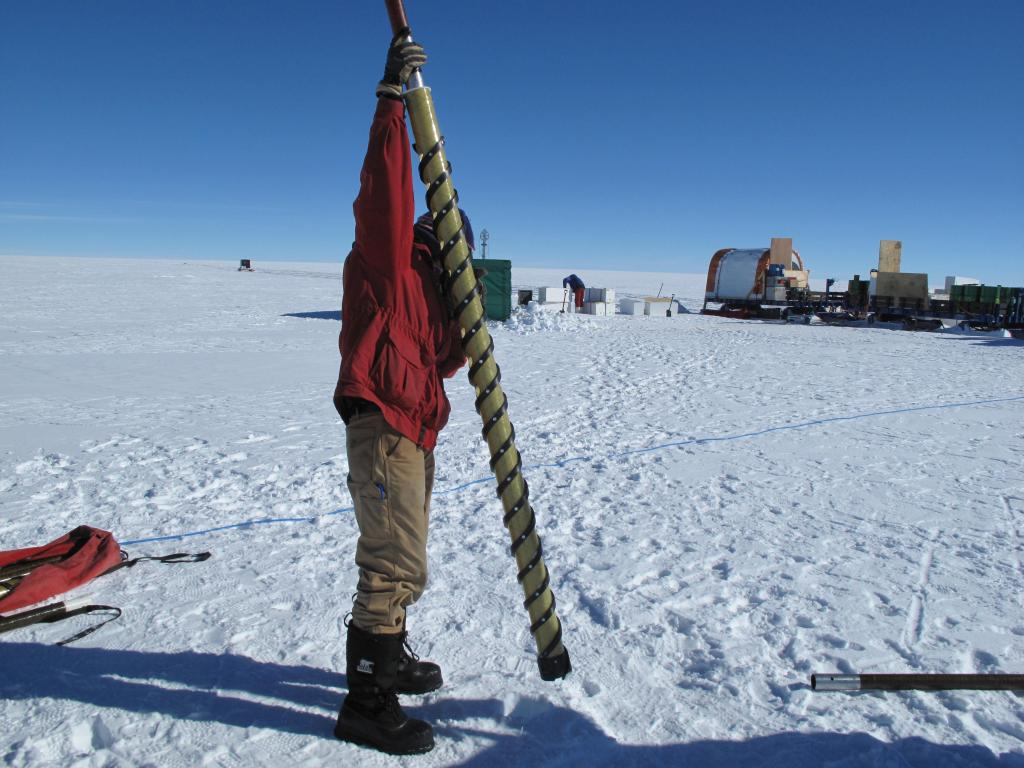 "Researchers take a snow core on the East Antarctic Ice Sheet. Image Credit:  Ted Scambos, NSIDC (<a href=""/cryosphere/gallery/photo/33856"">View photo detail.</a>) <br>"