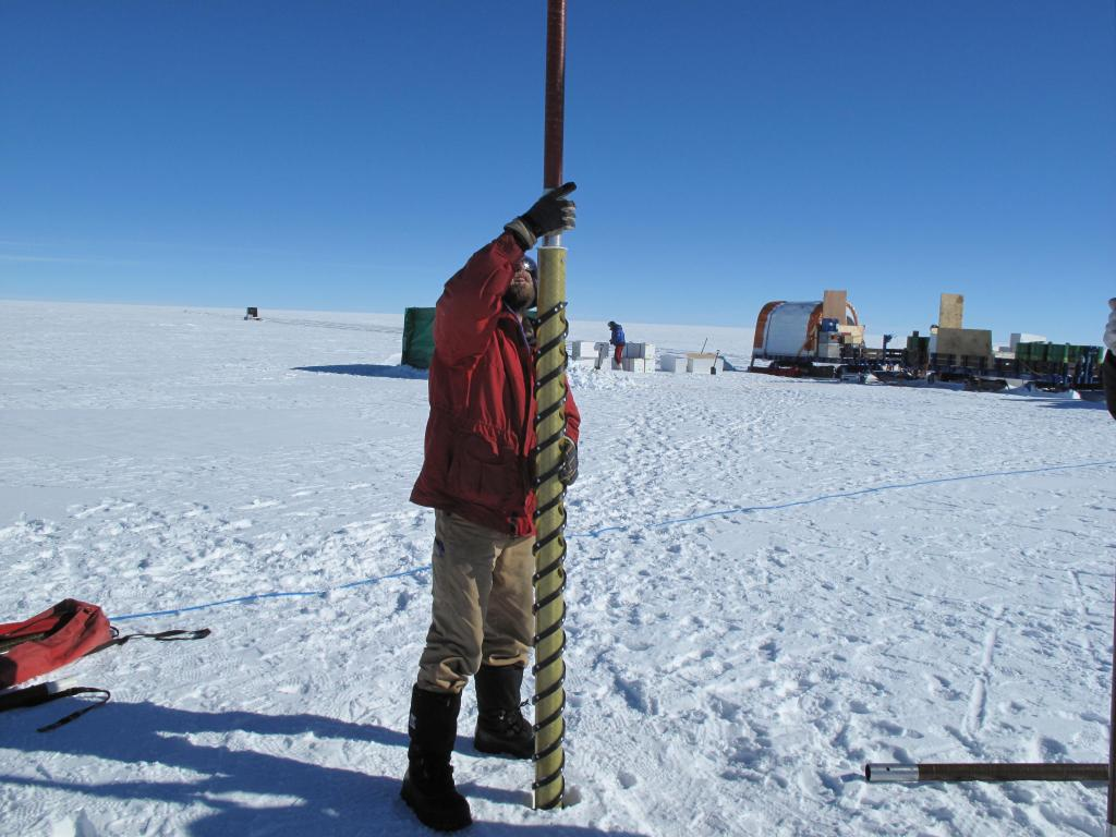 "Researchers take a snow core on the East Antarctic Ice Sheet. Image Credit:  Ted Scambos, NSIDC (<a href=""/cryosphere/gallery/photo/33857"">View photo detail.</a>) <br>"