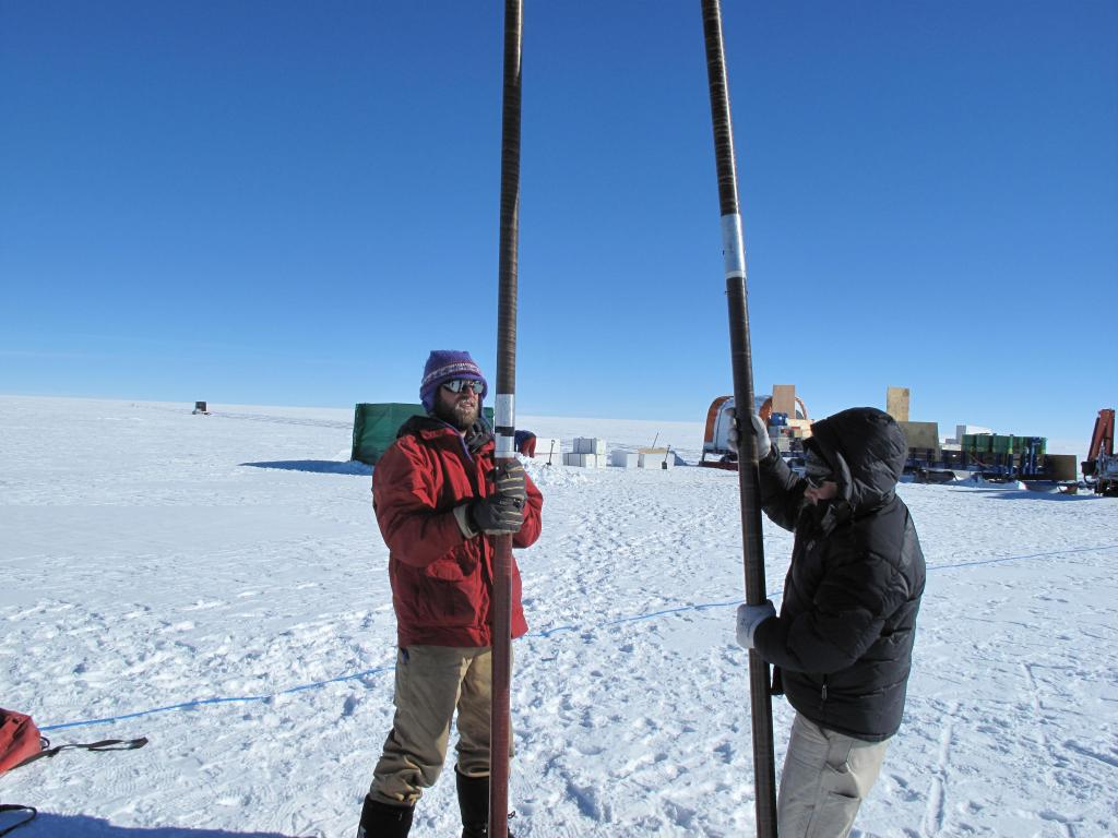 "Researchers take a snow core on the East Antarctic Ice Sheet. Image Credit:  Ted Scambos, NSIDC (<a href=""/cryosphere/gallery/photo/33859"">View photo detail.</a>) <br>"