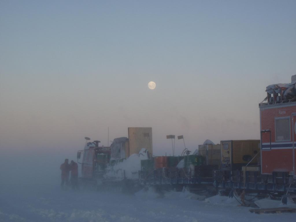 "A storm brought blowing snow and low visibility to the Norwegian-U.S. Scientific Traverse of East Antarctica. Image Credit:  Ted Scambos, NSIDC (<a href=""/cryosphere/gallery/photo/33868"">View photo detail.</a>) <br>"