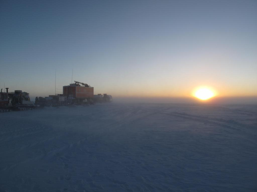 "A storm brought blowing snow and low visibility to the Norwegian-U.S. Scientific Traverse of East Antarctica. Image Credit:  Ted Scambos, NSIDC (<a href=""/cryosphere/gallery/photo/33872"">View photo detail.</a>) <br>"