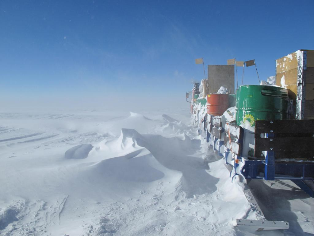 "A storm brought blowing snow and low visibility to the Norwegian-U.S. Scientific Traverse of East Antarctica. Image Credit:  Ted Scambos, NSIDC (<a href=""/cryosphere/gallery/photo/33873"">View photo detail.</a>) <br>"