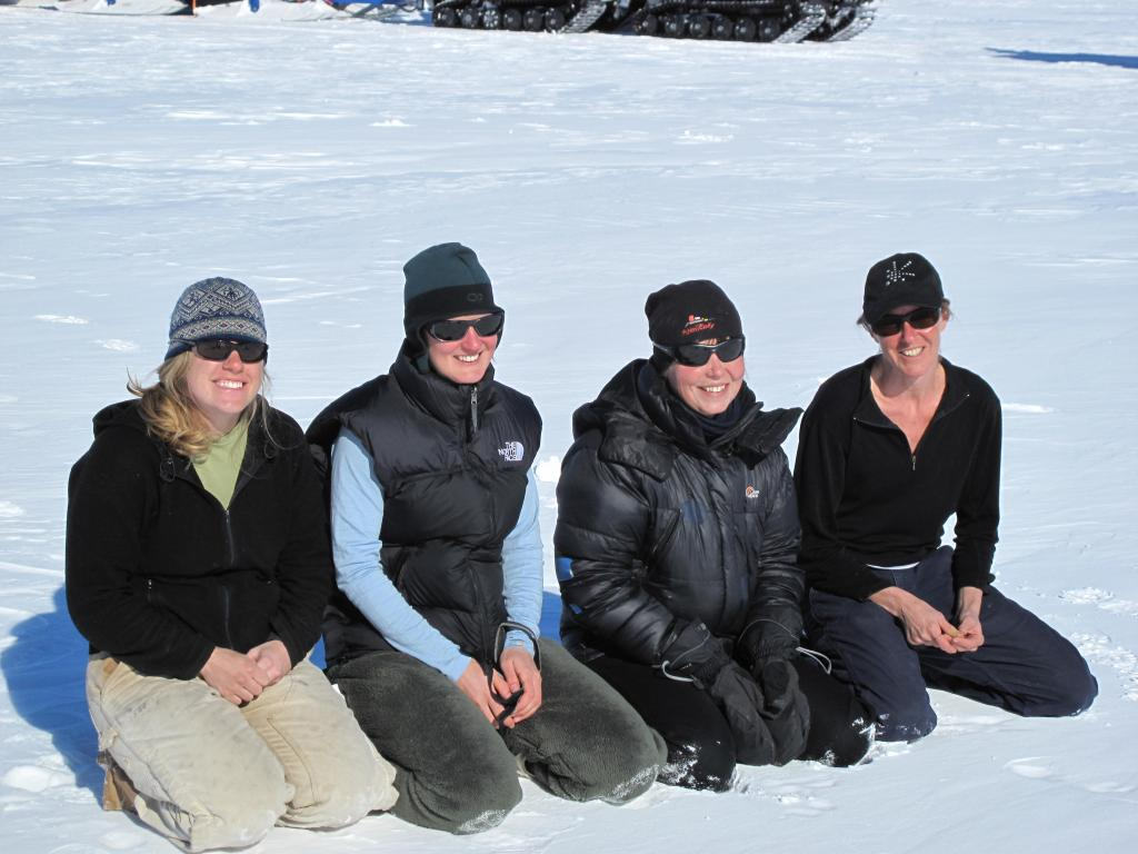 "Researchers take a break in the sun during the Norwegian-U.S. Scientific Traverse of East Antarctica. Image Credit:  Ted Scambos, NSIDC (<a href=""/cryosphere/gallery/photo/33878"">View photo detail.</a>) <br>"