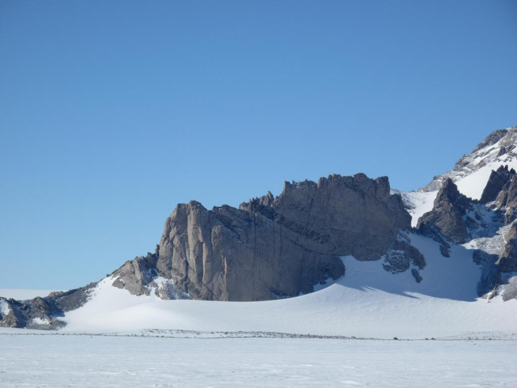 "The traverse ended at Troll Station, near these mountains. Image Credit:  Ted Scambos, NSIDC (<a href=""/cryosphere/gallery/photo/33879"">View photo detail.</a>) <br>"