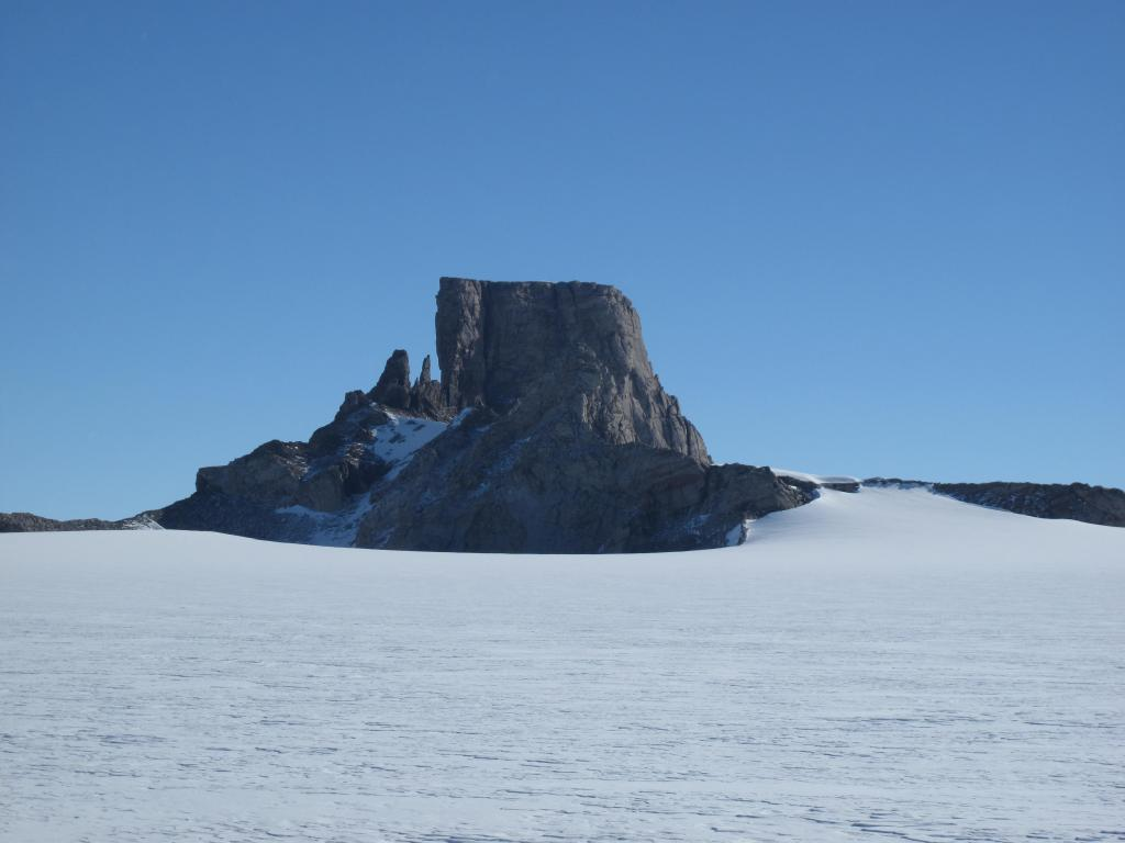 "The traverse ended at Troll Station, near these mountains. Image Credit:  Ted Scambos, NSIDC (<a href=""/cryosphere/gallery/photo/33880"">View photo detail.</a>) <br>"