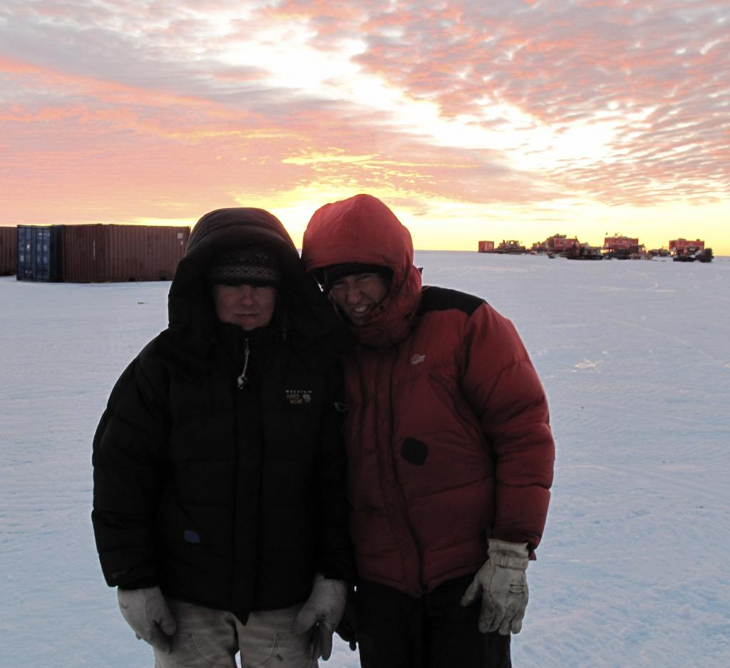 "Researchers smile, happy to have reached their destination, Troll Station. Image Credit:  Ted Scambos, NSIDC (<a href=""/cryosphere/gallery/photo/33884"">View photo detail.</a>) <br>"
