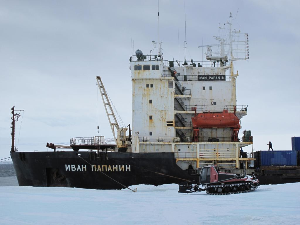 "The traverse team meets a Russian ship to load their equipment for transport back to the mainland. Image Credit:  Ted Scambos, NSIDC (<a href=""/cryosphere/gallery/photo/33889"">View photo detail.</a>) <br>"
