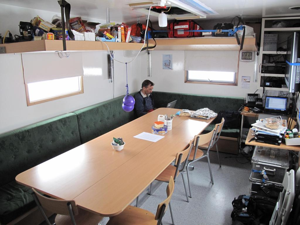 "The dining area of the traverse vehicle was small but sufficient for the team. Image Credit:  Ted Scambos, NSIDC (<a href=""/cryosphere/gallery/photo/33892"">View photo detail.</a>) <br>"