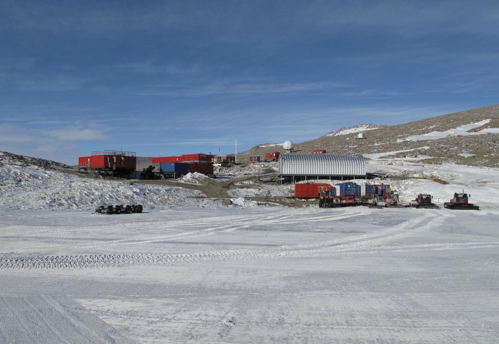 "Troll Station is the Norwegian Antarctic research station where the traverse ended. Image Credit:  Ted Scambos, NSIDC (<a href=""/cryosphere/gallery/photo/33891"">View photo detail.</a>) <br>"