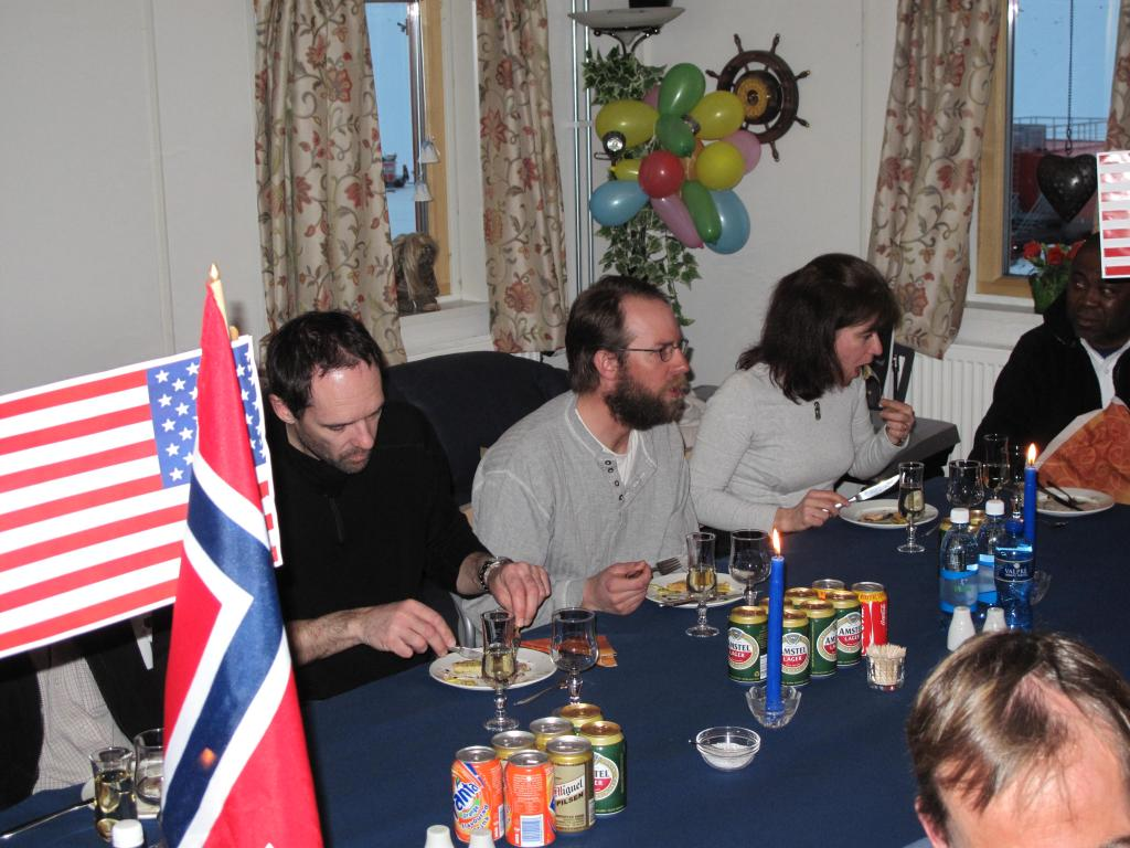 "Researchers and guests celebrate the end of the traverse at Troll Station, the Norwegian Antarctic research station. Image Credit:  Ted Scambos, NSIDC (<a href=""/cryosphere/gallery/photo/33898"">View photo detail.</a>) <br>"