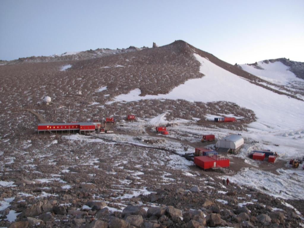 "Troll Station is the Norwegian Antarctic research station. Image Credit:  Ted Scambos, NSIDC (<a href=""/cryosphere/gallery/photo/33900"">View photo detail.</a>) <br>"