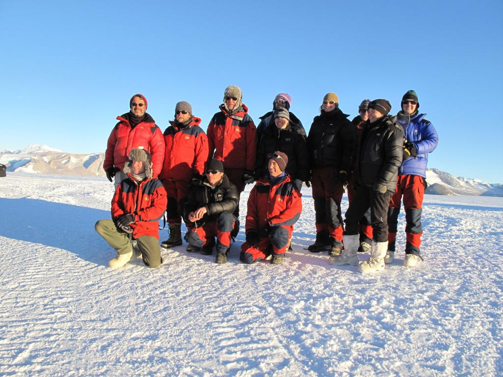 "The Norwegian-U.S. Traverse team, 2008-2009. Image Credit:  Ted Scambos, NSIDC (<a href=""/cryosphere/gallery/photo/33901"">View photo detail.</a>) <br>"
