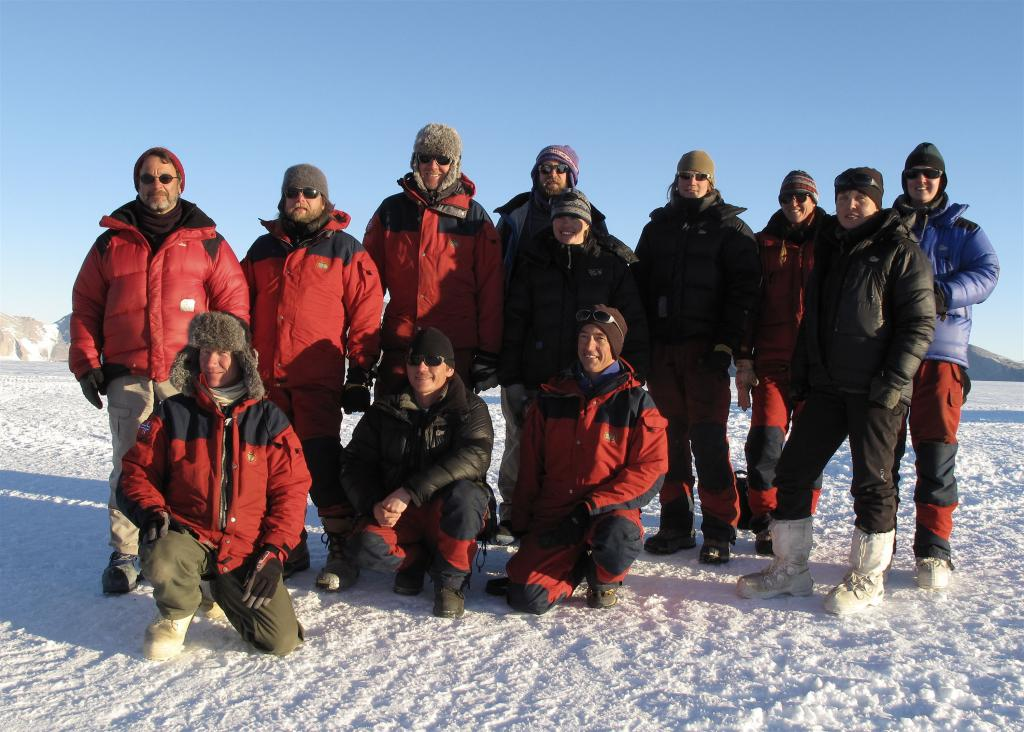 "The Norwegian-U.S. Traverse team, 2008-2009 Image Credit:  Ted Scambos, NSIDC (<a href=""/cryosphere/gallery/photo/33905"">View photo detail.</a>) <br>"