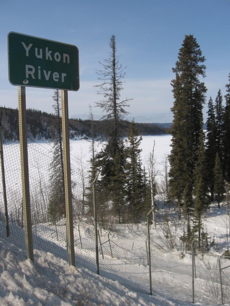 "The Yukon River is marked by a road sign. Image courtesy Andrew Slater, NSIDC. (<a href=""/cryosphere/gallery/photo/33640"">View photo detail.</a>) <br>"