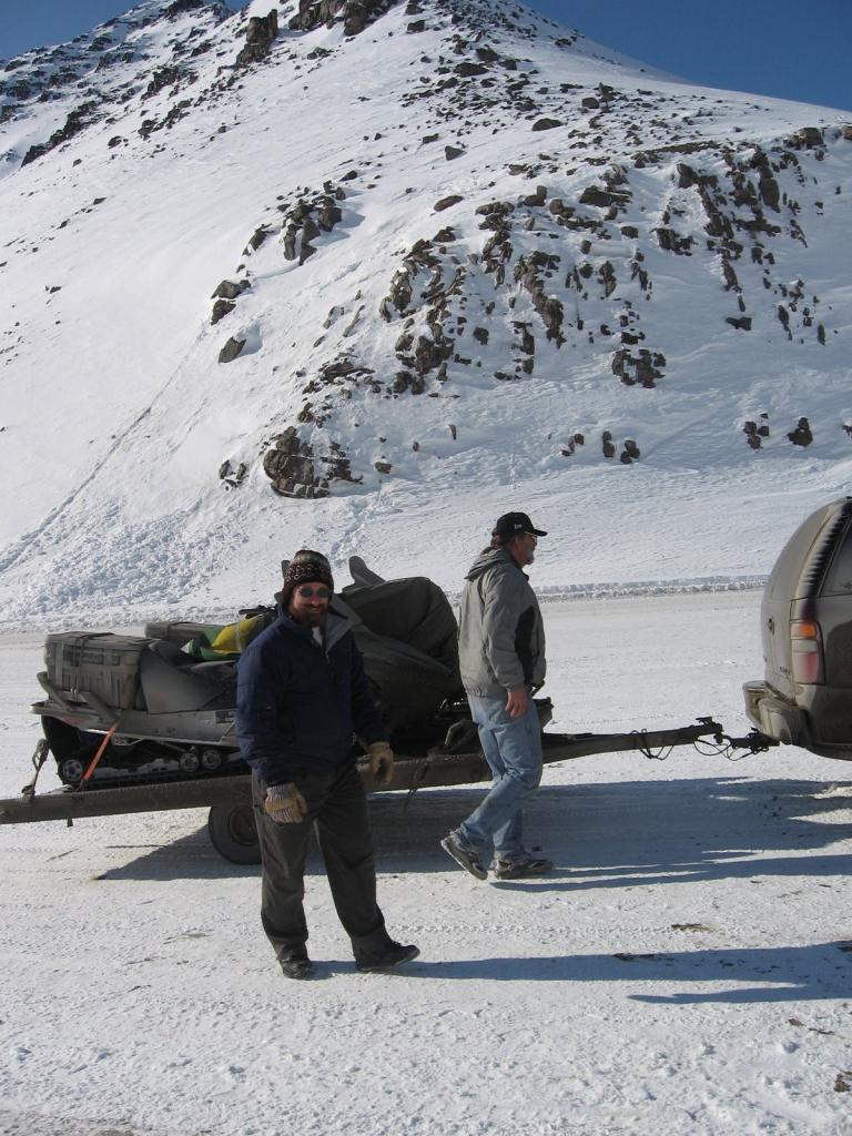 "Matthew Sturm and Mark Serreze look at their equipment. Image courtesy Andrew Slater, NSIDC. (<a href=""/cryosphere/gallery/photo/33639"">View photo detail.</a>) <br>"