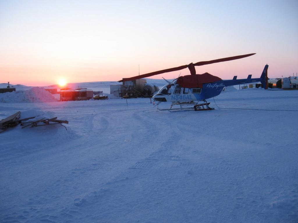 "The sun sets in Toolik during the 2009 SnowNet project. Image courtesy Andrew Slater, NSIDC. (<a href=""/cryosphere/gallery/photo/33646"">View photo detail.</a>) <br>"