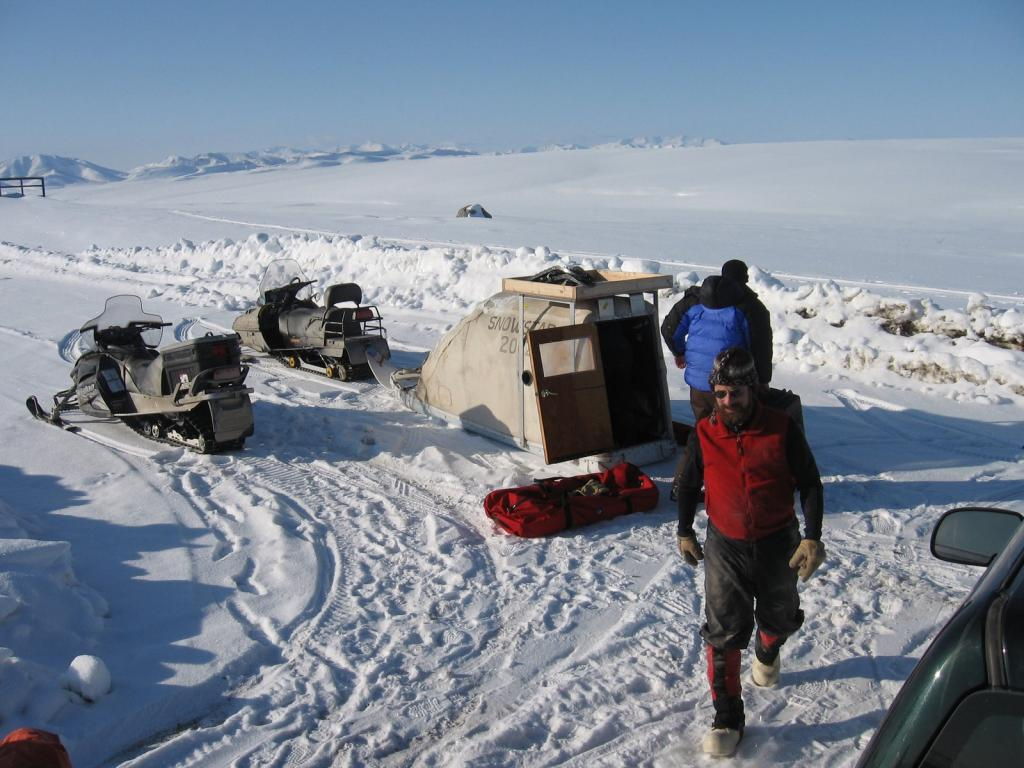 "Matthew Sturm and another scientist set up  gear for the 2009 SnowNet project. Image courtesy Andrew Slater, NSIDC. (<a href=""/cryosphere/gallery/photo/33645"">View photo detail.</a>) <br>"