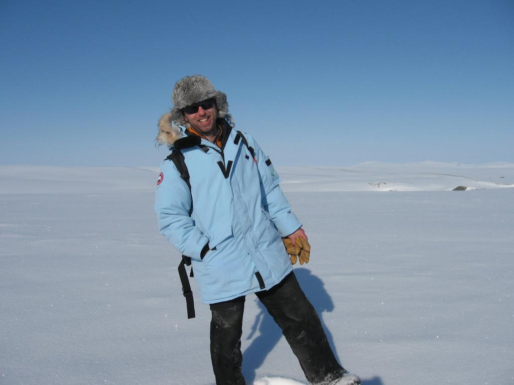 "Drew Slater poses in his powder blue parka, during the 2009 SnowNet project. Image courtesy Andrew Slater, NSIDC. (<a href=""/cryosphere/gallery/photo/33649"">View photo detail.</a>) <br>"
