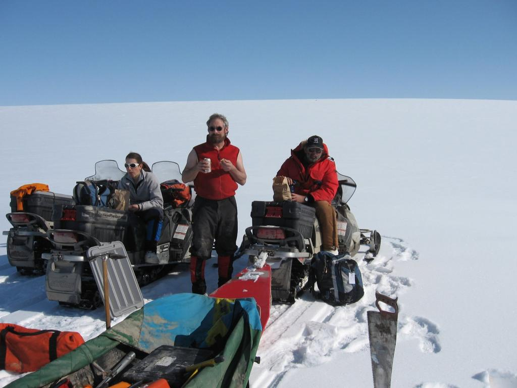 "Scientists take a much needed break during the 2009 SnowNet project. From left to right: Sveta Berezovskaya, Matthew Sturm, and Mark Serreze Image courtesy Andrew Slater, NSIDC. (<a href=""/cryosphere/gallery/photo/33651"">View photo detail.</a>) <br>"