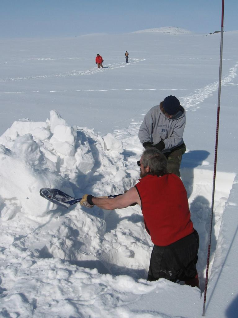"Matthew Sturm and Steph Saari start digging at the SnowNet research site. Image courtesy Andrew Slater, NSIDC. (<a href=""/cryosphere/gallery/photo/33652"">View photo detail.</a>) <br>"