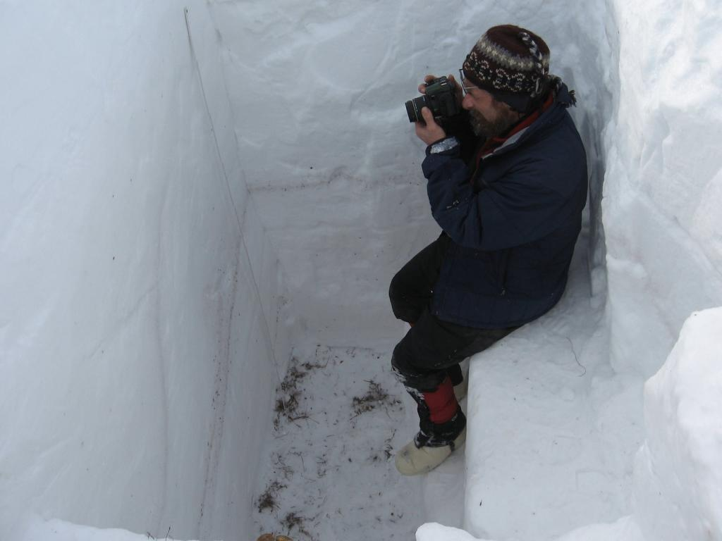 "Matthew Sturm photographs snow layers in a snow pit during the 2009 SnowNet project. Image courtesy Andrew Slater, NSIDC. (<a href=""/cryosphere/gallery/photo/33661"">View photo detail.</a>) <br>"