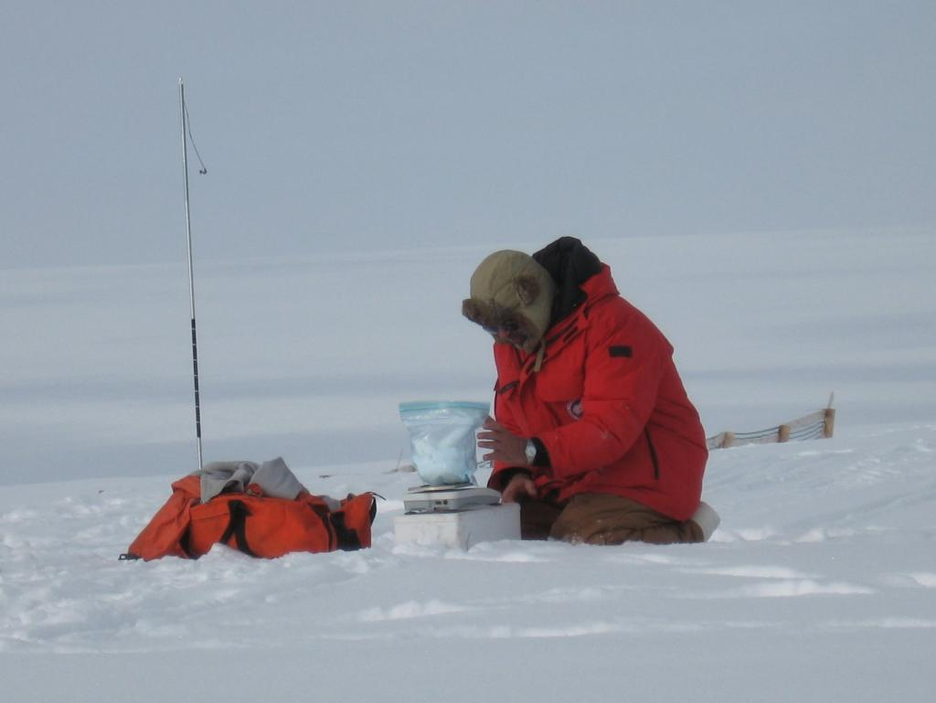"Mark Serreze weighs snow during the 2009 SnowNet project. Image courtesy Andrew Slater, NSIDC. (<a href=""/cryosphere/gallery/photo/33662"">View photo detail.</a>) <br>"
