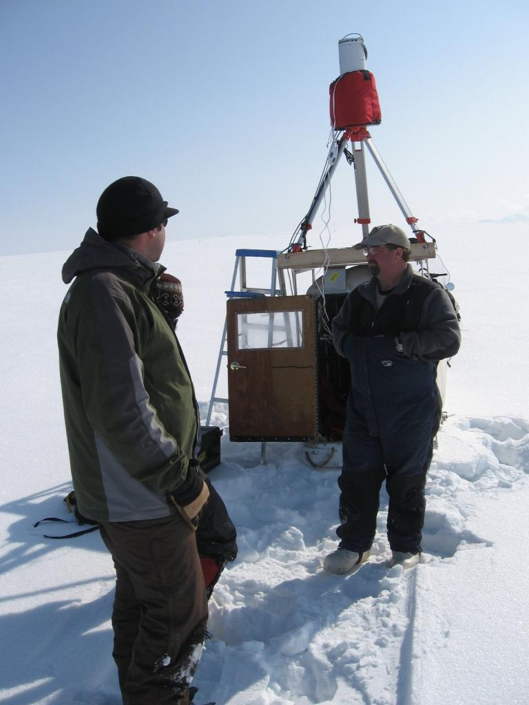 "Scientists stand next to LIDAR rig. From left to right: Christopher Hiemstra, Matthew Sturm, and Art Gelvin Image courtesy Andrew Slater, NSIDC. (<a href=""/cryosphere/gallery/photo/33672"">View photo detail.</a>) <br>"