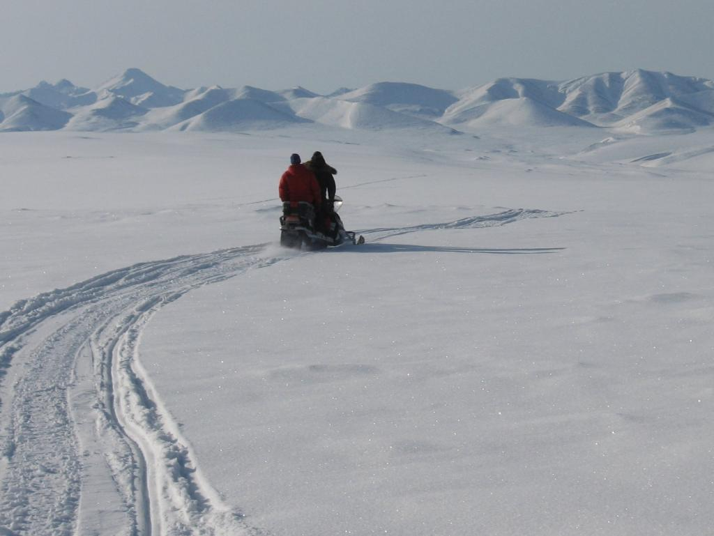 "Scientists ride a snowmobile. Image courtesy Andrew Slater, NSIDC. (<a href=""/cryosphere/gallery/photo/33671"">View photo detail.</a>) <br>"