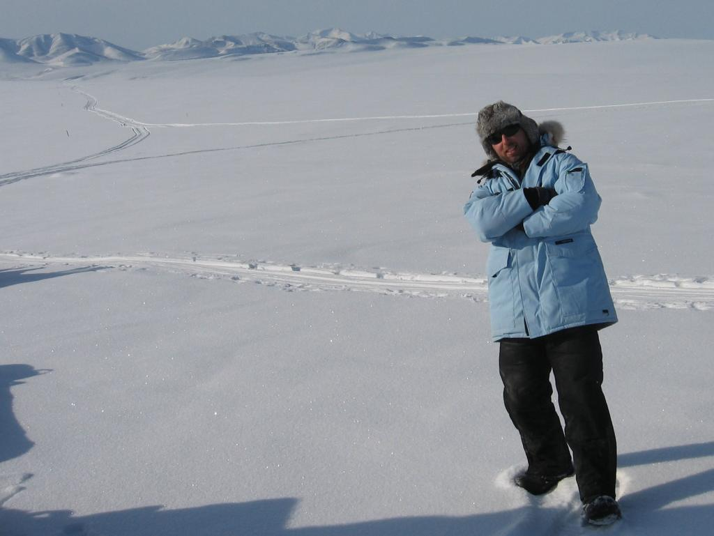 "Drew Slater poses in the powder blue parka that he was issued for the SnowNet project. Image courtesy  Andrew Slater, NSIDC. (<a href=""/cryosphere/gallery/photo/33675"">View photo detail.</a>) <br>"